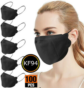 50/100 PCS Black 4 layers KF94 Face Mask Mouth & Nose Protector Respirator Masks