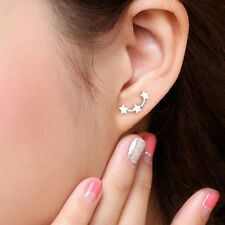 Loverly Three Stars Silver Stud Earrings Fashion Women Jewelry Hypoallergenic
