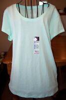 NWT Size 2XL (20) Solid Mint Green Crew Neck Women's Short Sleeve T-Shirt Top