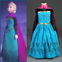 Kid Girl Elsa Coronation Snow Queen Anna Princess Costume Party Fancy Dress Cape