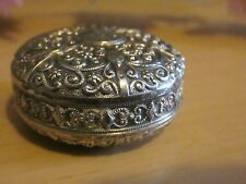 "Wonderful Antique Ornate Chasse Silverplate Pill Box ""Ricordati  di me"""