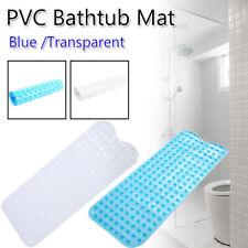 Bath Tub Mat Non-Slip Anti-Bacterial Shower Pad w/ Suction Cups Blue/Transparent