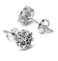 3Ct Diamond D/VVS1 Crown Stud Earrings In 14K White Gold Over Sterling Silver