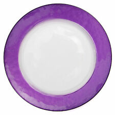 SET 8 GLASS CHARGER PLATES WITH PURPLE LUSTER SHEEN BORDER Imperfect Save $100+