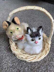 "Vintage SCHUCO Mohair Miniature 3"" Mohair Jointed Cat Kitten + Fur Cat Basket"