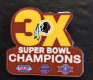 WASHINGTON CHAMPIONS PIN SUPERBOWL 3X CHAMPS NFL SUPER BOWL METAL BASE