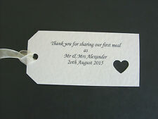 Thank You For Sharing Our First Meal Wedding Napkin/Favour Tags x 10 White/Ivory