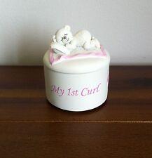 New Baby Girl My 1st Curl Holder Box Christening/Baptism/Nursery Gift Pink Feet