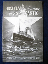 S.S. MEGANTIC--First Class Interiors Brochure, 1920s -- White Star-Dominion Line