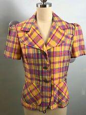 New listing S/M Vtg 70's multi-color plaid seersucker fitted shirt/jacket