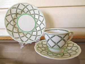 "Vintage Royal Doulton ""Romney"" Green Trio Made In England 1930s"