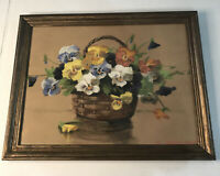 Original Painting Still-life Pansies Basket Mae Bennett Brown Framed 16x12""