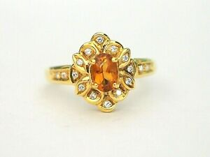 14K Yellow Gold Vintage Natural Oval Citrine & CZ Cocktail Ring, 6 US