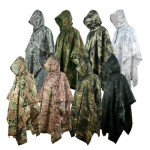 Outdoor Military Breathable Camouflage Poncho Jungle Tactical Raincoat Birdwatch