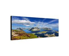 120x40cm Lofoten Panorama Norwegen Inseln Wale Fischerei Leinwand Bild Sinus Art