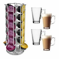 REVOLVING 32 DOLCE GUSTO  NESPRESSO COFFEE POD STAND HOLDER + 4 LATTE GLASSES