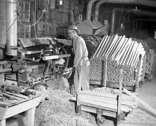 Old Photo. West Plains, Missouri.  Worker in Baseball Bat Factory
