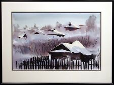 """Doug Lew """"Snowy Dawn"""" Original Watercolor Painting winter Art SUBMIT AN OFFER!"""