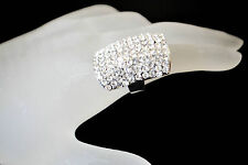 LONG RECTANGLE CLEAR WHITE  BLING  RHINESTONES (OPEN BACK/ADJUSTABLE) RING