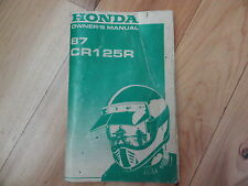 1987 Honda CR125 Owner's Manual CR 125 R