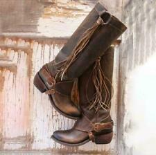 Womens Retro Low Chunky Heel Knee High Calf Riding Boots Cowboy Punk Chic Shoes