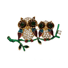 Adorable Enamel & Crystal Owls On Branch Brooch! New!