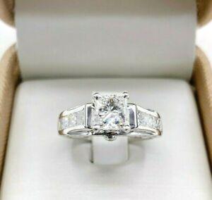 2.12 Carats tw Princess Cut Diamond 3 Sided Engagement Ring 1.02 Carat Center