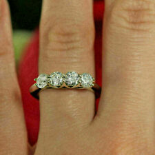 4Stone Real Moissanite Ring 2Ct Wedding Anniversary Band Ring 925Sterling Silver