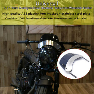 "5-7""Retro Motorcycle Round Headlamp Fairing Front Windshield Shield Bracket Part"
