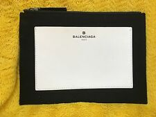 "NEW Balenciaga Paris 9.5"" x 6.5"" Makeup Envelope Clutch Leather Canvas Black"