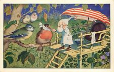 c1930 Postcard F. Baumgarten Doctor Gnome in Treehouse Examines Sick Birds