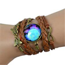 Hot Blue Galaxy Fashion Bronze Strip Butterfly Glass CABOCHON Leather Bracelet