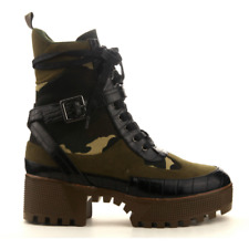 47249a940 Cape Robbin CHASE Olive Camo Lug Sole Lace Up Chunky Heel Platform Ankle  Boot