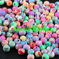 50 x polymer clay beads round handmade flower floral mixed colours jewellery 8mm