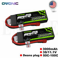 2 Packs Ovonic 3000mAh 3S 11.1V 50C Lipo Battery Deans Plug for Heli Car Boat