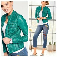 Designer @ Kaleidoscope Size 12 Turquoise Leather Biker Style Jacket Zips £180