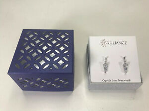 Brilliance Crystals from Swarovski Stud Earrings Silver Tone Hanging Clear Gems