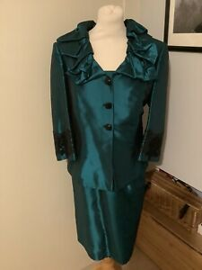 Beautiful Luis Civit Emerald Green Mother Of The Bride Outfit Size 16 Worn Once