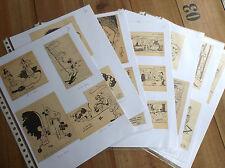 RARE lot d'anciens dessins illlustrés par Franquin Tillieux Will Morris Hubinon