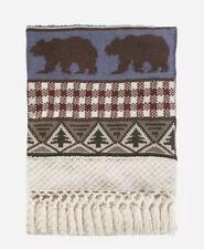 NEW Pendleton Pine Lodge Knit Throw Blanket RARE Red Blue Brown Green bear rusti