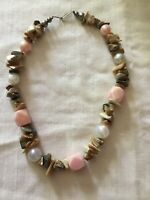 Vintage Abalone And Bakelite Bead Necklace Estate Jewelry