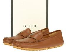 NEW GUCCI LUXURY BROWN LEATHER LOGO MOCCASINS DRIVER SHOES 10 G/US 10.5