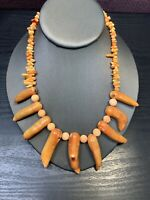 "Vintage Fantastic Real  Orange Coral Beaded Statement Necklace  16"" Long"
