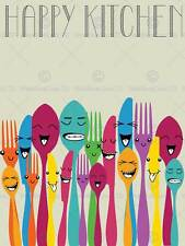 HAPPY COLOURFUL CUTLERY KITCHEN FOOD PHOTO ART PRINT POSTER PICTURE BMP1960B