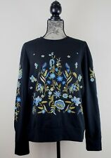 Anthropologie Women's Floral Stitched Pullover Sweater, Black Size Medium, NWT