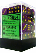 Chessex Dice Green Purple Gold Gemini 12mm d6 36 Die Set CHX 26834