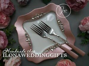 Swarovski Crystal Silver Wedding Day Rose Gold Cake Knife Server Set Flute Plate