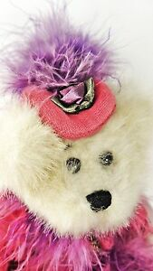 """GANZ BEAR Mercedes Plush 10"""" tall - Plush - Heritage Collection - red dress boa"""