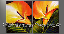 LARGE ORIGINAL OIL  Calla Lily  Flowers artist Sherry Price