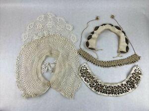 Vintage Lot of 5 Lace Panels Pieces Collars Trim